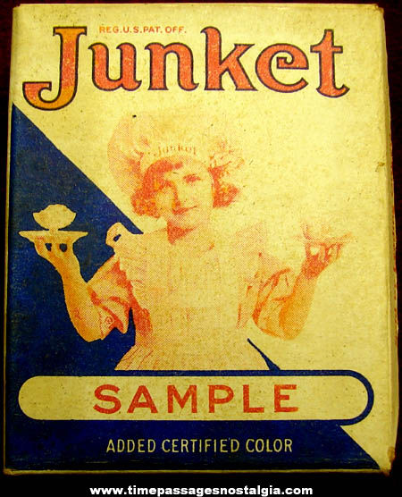 Old Miniature Junket Dessert Sample Advertising Box