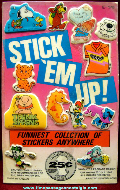 Old Cartoon & Comic Character Gum Ball Machine Prize Advertising Header Card
