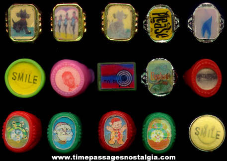 (15) Colorful Old Gum Ball Machine Prize Flicker Toy Rings