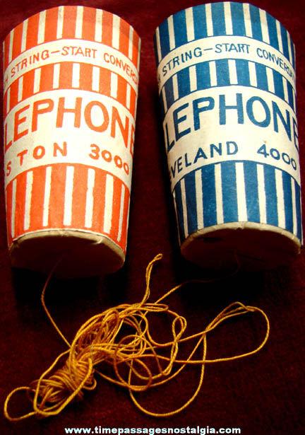 Colorful 1930s Cracker Jack Pop Corn Confection Toy Prize Cardboard & Paper Telephone Set