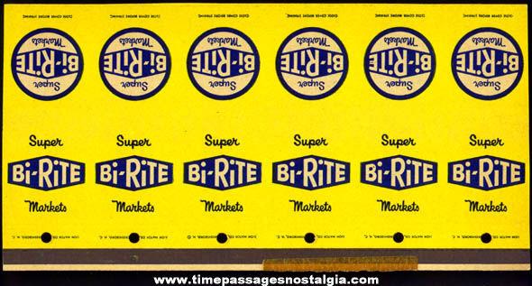 (6) Old Uncut Bi-Rite Supermarket Advertising Match Book Covers