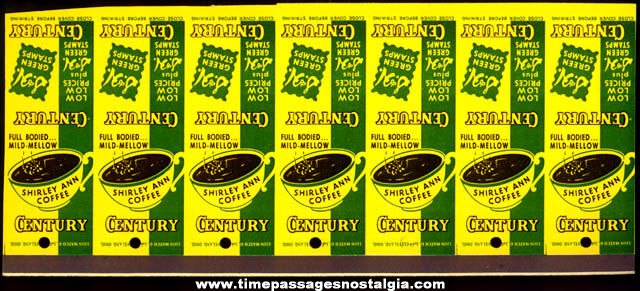 (7) Old Uncut Century Supermarket Coffee Advertising Match Book Covers