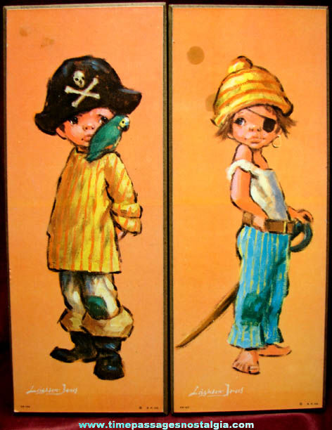 (2) Different Colorful Barry Leighton Jones Big Eye Pirate Children Art Prints