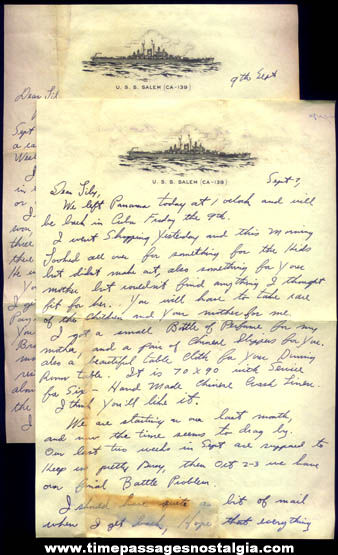(2) Old U.S.S. Salem CA-139 United States Navy Ship Stationary Sailor Letters
