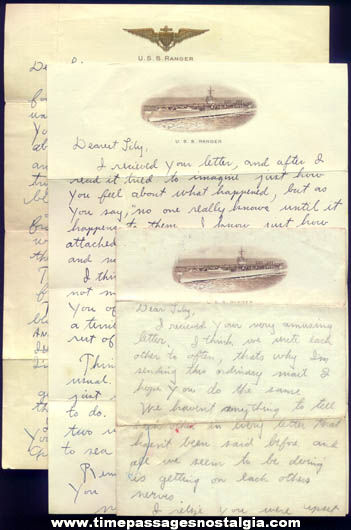 (3) Old U.S.S. Ranger CV-4 United States Navy Ship Stationary Sailor Letters