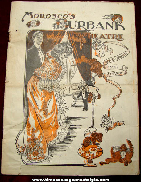 1904 Morosco's Burbank Theatre Program Booklet With Advertising