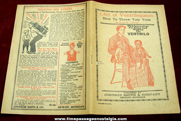 Old Johnson Smith & Company Art Of Ventriloquism Booklet