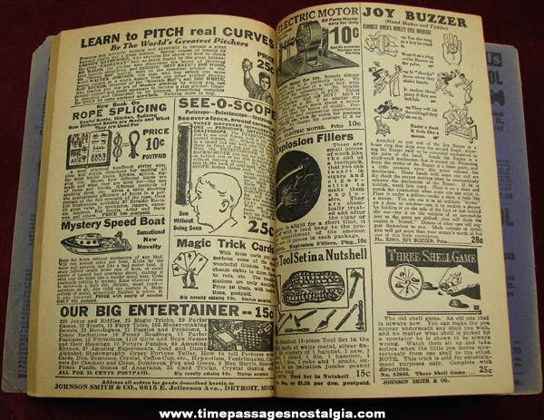 Old Johnson Smith & Company Card Trick & Magic Novelty Catalog Book