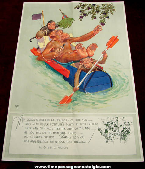 (6) 1940s Lawson Wood Comical Monkey Art Images