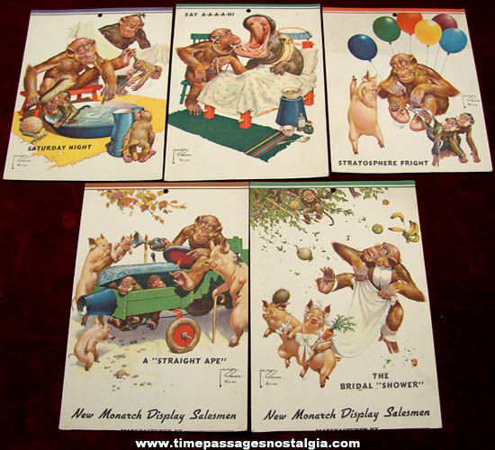 (5) 1940s Lawson Wood Comical Monkey Art Print Cards