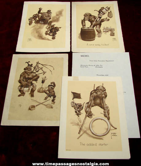 (4) 1938 - 1941 Lawson Wood Comical Monkey Art Prints + Bonus