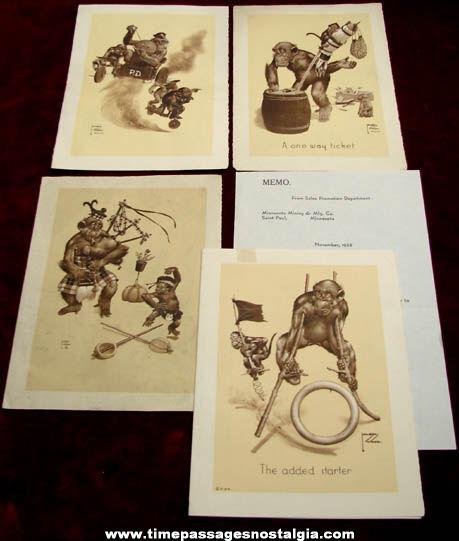 (4) 1938 - 1941 Lawson Wood Comical Monkey Art Prints + Bonus