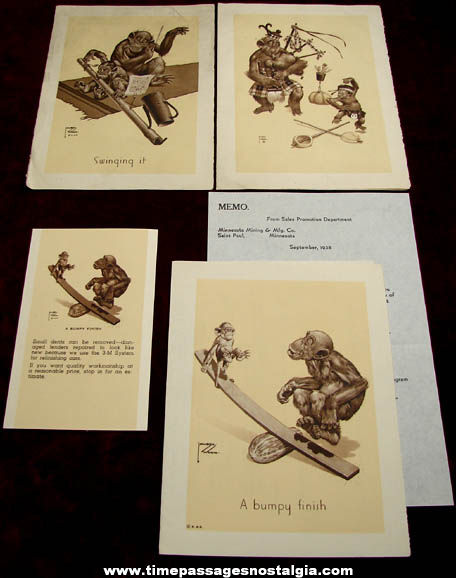 (4) 1940s Lawson Wood Comical Monkey Art Images