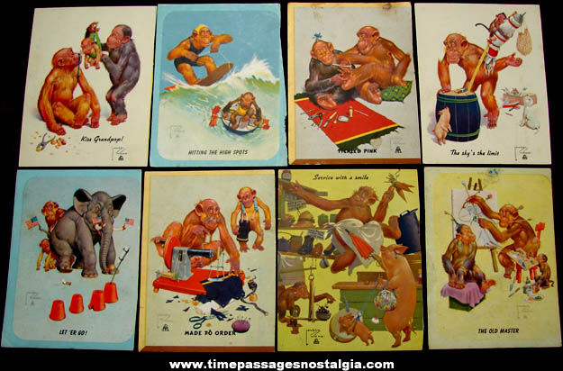 (8) Colorful Old Lawson Wood Comical Monkey Art Print Cards