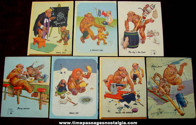 (7) Colorful Old Lawson Wood Comical Monkey Art Print Cards