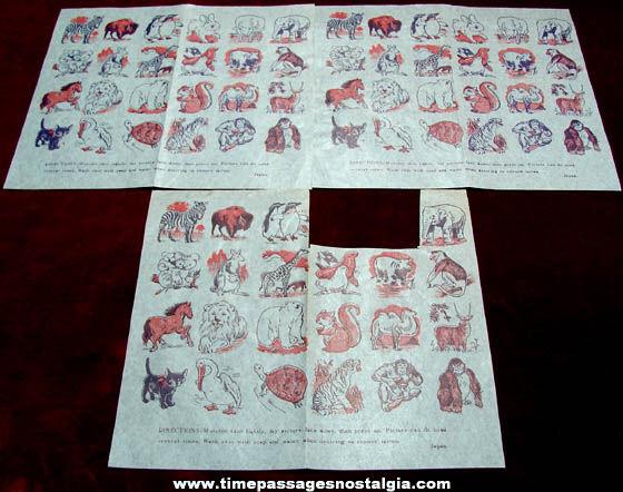 (3) Old Unused Temporary Animal Tattoo Sheets