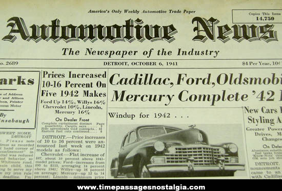 1941 Automotive News Detroit Trade Publication