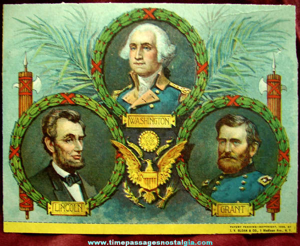 Colorful �1906 United States Presidents & Great Seal Print