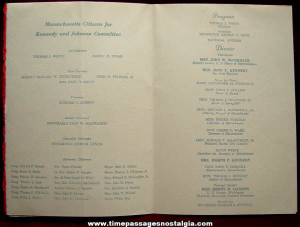 1960 John F. Kennedy & Lyndon Johnson Campaign Dinner Ticket, Program, & Picture