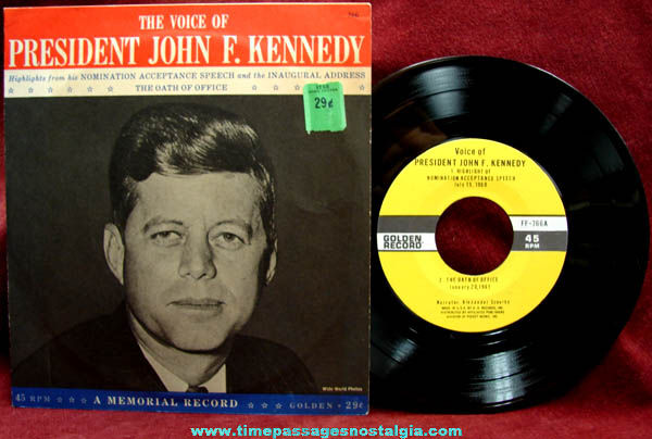1960s United States President John F. Kennedy Record & Picture Sleeve