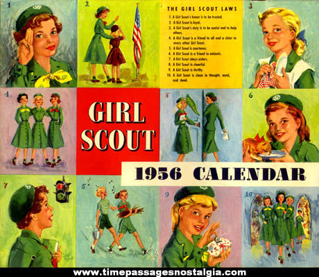 Colorful 1956 Girl Scout & Brownie Calendar