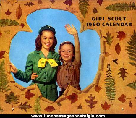 Colorful 1960 Girl Scout & Brownie Calendar