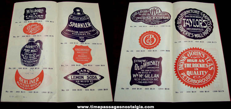 1912 Fenton Advertising Labels Catalog With Samples & Envelope