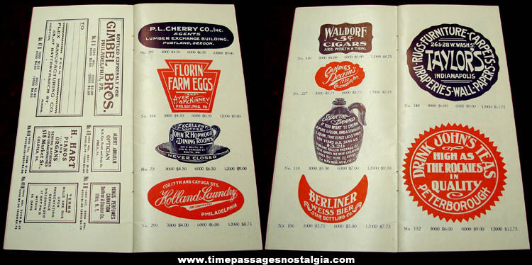 1919 Fenton Advertising Labels Catalog With Samples & Envelope