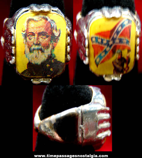 Old Robert E. Lee and Confederate Flag Gum Ball Machine Prize Toy Flicker Ring