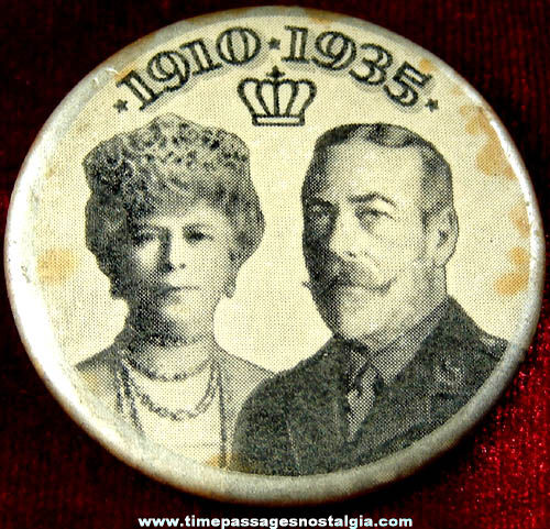 1935 King George V & Queen Mary Silver Jubilee Pin Back Button