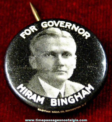 1924 Hiram Bingham Connecticut Governor Political Pin Back Button