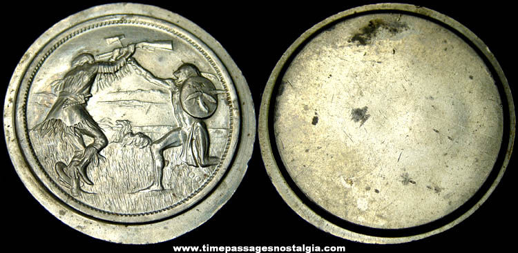 Old Pioneer & Native American Indian Metal Coin Die