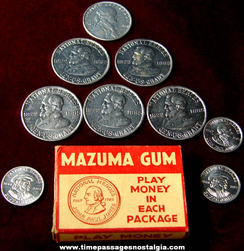 Old American Chicle Mazuma Gum Box With (9) Play Money Coins