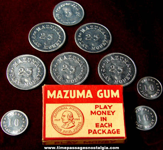 Old American Chicle Mazuma Gum Box With (9) Advertising Premium Play Money Coins