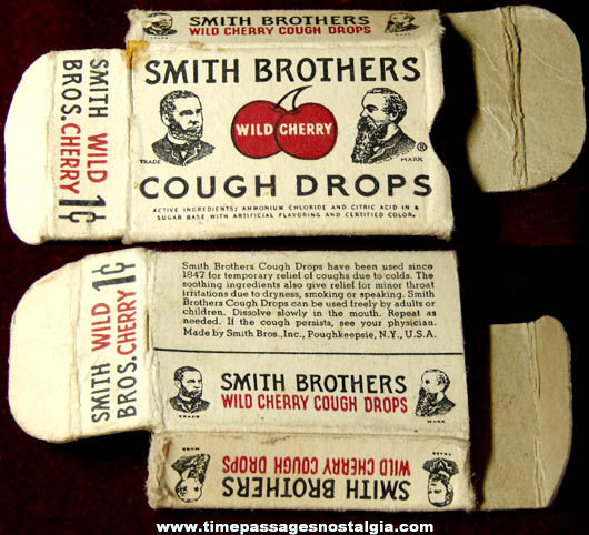 Old One Cent Smith Brothers Wild Cherry Cough Drop Box