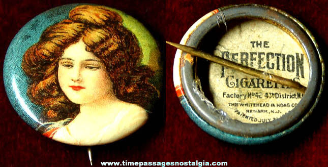 Old Perfection Cigarettes Advertising Premium Pretty Lady Celluloid Pin Back Button