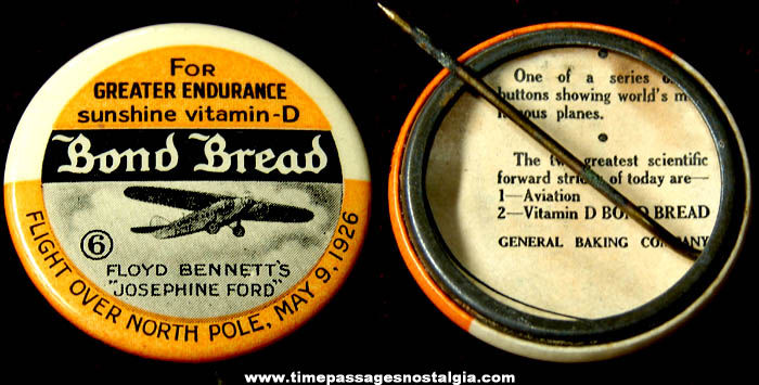 Old Bond Bread Advertising Premium Airplane Celluloid Pin Back Button