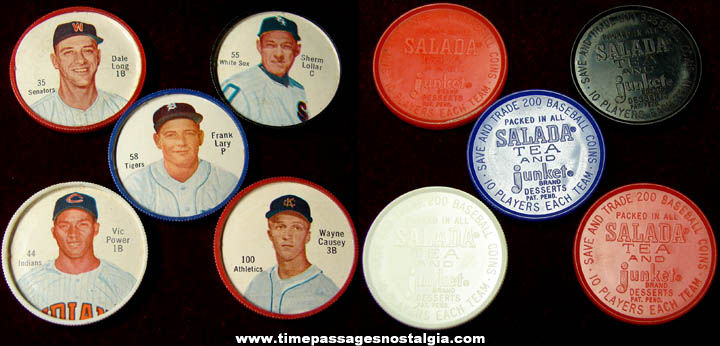 (5) Old Salada Tea & Junket Desserts Premium Baseball Player Coins