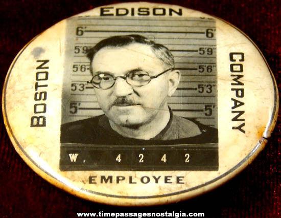 Old Boston Edison Company Employee Celluloid Badge