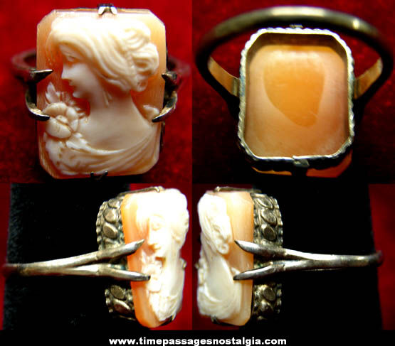 Old Carved Cameo Sterling Silver Ladies Ring