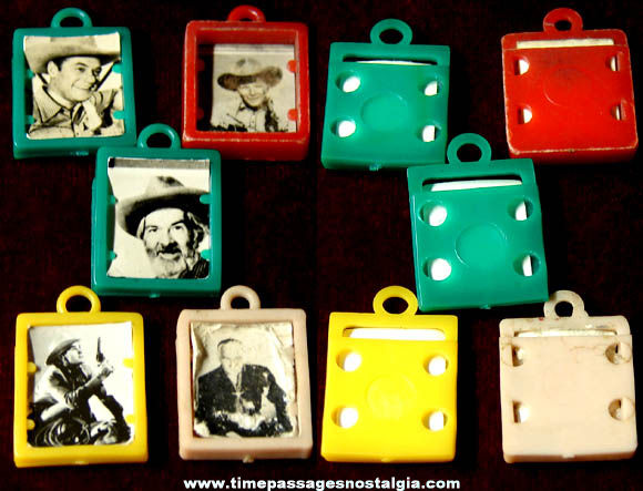 (5) Old Western Cowboy Hero Real Photo Gum Ball Machine Prize Charms