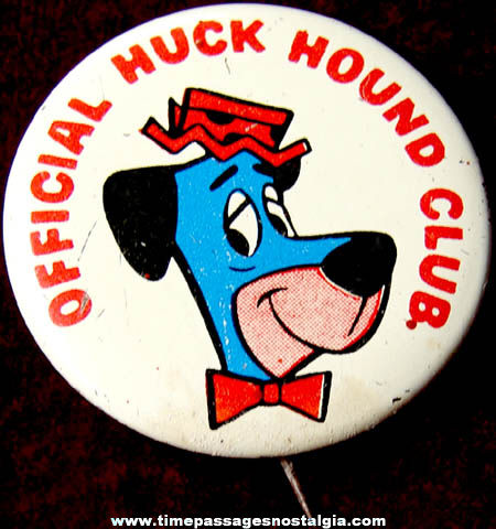©1960 Huckleberry Hound Club Pin Back Button