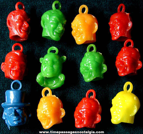 (12) Colorful Old Batman Character Gum Ball Machine Prize Charms