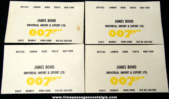 4 Old James Bond 007 Movie Character Toy Business Cards Tpnc