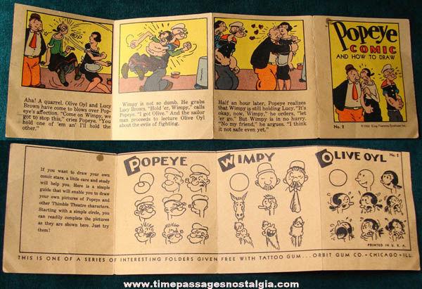 ©1933 Popeye Comic & How To Draw Miniature Orbit Gum Premium Booklet