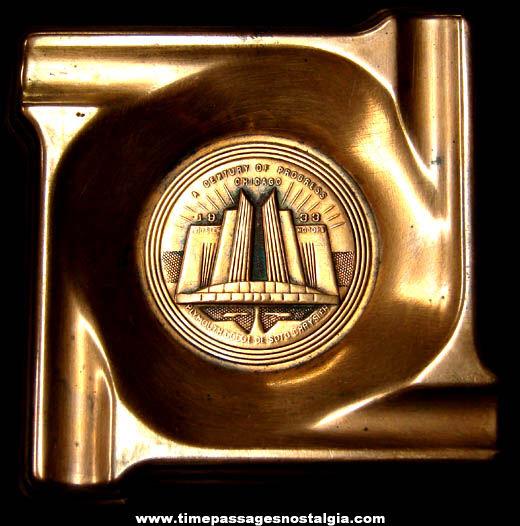 (5) 1933 Century Of Progress Chicago World's Fair Advertising Souvenir Copper Cigarette Ashtrays