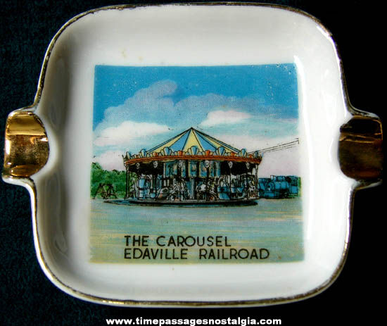 Old Porcelain Edaville Railroad Carousel Advertising Souvenir Cigarette Ashtray