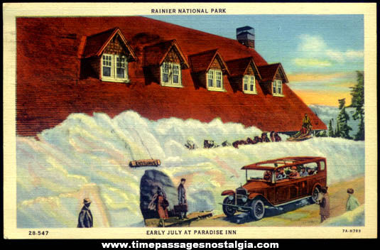 Unusual 1938 Paradise Inn Rainier National Park Washington Post Card
