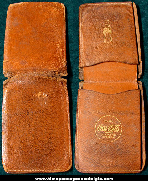 Old Coca Cola Advertising Employee Pig Skin Leather Wallet