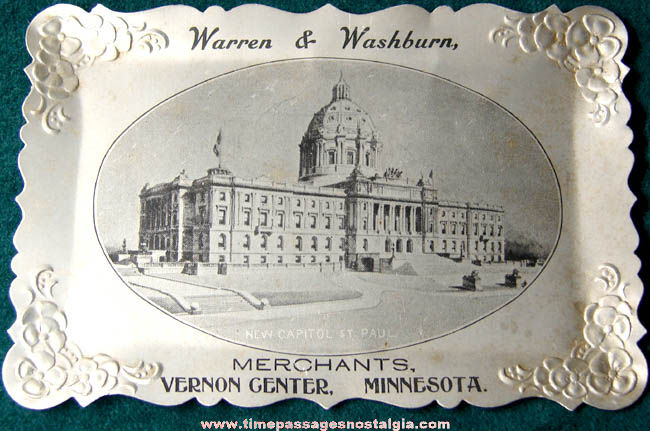 Old Vernon Center Minnesota Advertising Souvenir Metal Tip Tray